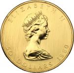 World Coins, Canada.  Elizabeth II (1952 -). 50 dollars 1980. Fr. B1. 31.13 g.  30 mm.  优美