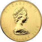 World Coins, Canada.  Elizabeth II (1952 -). 50 dollars 1980. Fr. B1. 31.13 g.  30 mm.  优美