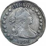 1796 Draped Bust Half Dollar. Small Eagle. O-101, T-1. Rarity-5-. 15 Stars. Fine Details--Plugged, R