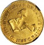 MEXICO. Escudo, 1857/1-C CE. Culiacan Mint. NGC AU-58.