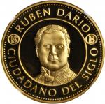 NICARAGUA. Ruben Dario Citizen of the Century Gold Medal, (2000)-Mo. NGC PROOF-67 ULTRA CAMEO.