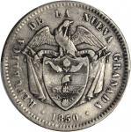 COLOMBIA. 1850 10 Reales. Bogotá mint. Restrepo 197.2. VF-35 (PCGS).