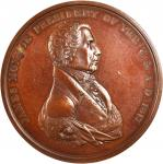 1817 James Monroe Indian Peace Medal. Large Size. First Reverse. Bronzed Copper. 76 mm. Julian IP-8.