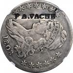 Pennsylvania--Philadelphia. F. A. VACHE counterstamped on an 1809 Capped Bust half dollar. Brunk V-1