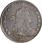 1806 Draped Bust Half Dollar. O-122, T-25. Rarity-6. Pointed 6, Stem Through Claw. VF-35 (PCGS). CAC