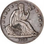 1839 Liberty Seated Half Dollar. No Drapery. WB-4. Rarity-4. EF-45 (ICG).