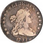1799 Draped Bust Silver Dollar. BB-159, B-23. Rarity-4. Stars 8x5. VG-8 (PCGS).