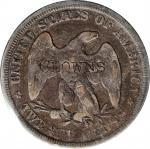 CLOWNS on an 1875 twenty-cent piece. Brunk C-617, Rulau-Unlisted. Host coin Fine, PVC Residue.