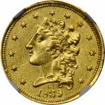 1839/39-C Classic Head Quarter Eagle. McCloskey-3. Repunched Date. AU-58 (NGC).