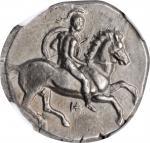 ITALY. Calabria. Tarentum. AR Didrachm (Nomos) (7.86 gms), ca. 344-340 B.C. NGC Ch AU, Strike: 3/5 S