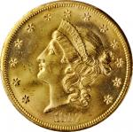 1857-S Liberty Head Double Eagle. Variety-20A. Spiked Shield. With One Pinch of California Gold Dust
