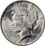 1934-D Peace Silver Dollar. MS-65 (PCGS).