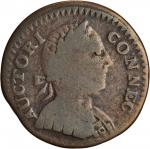 1786 Connecticut Copper. Miller 1-A, W-2460. Rarity-4+ Mailed Bust Right, Double Chin. VG-8 (PCGS).