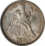1874 Liberty Seated Dime. Arrows. MS-65 (PCGS). CAC.