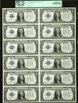 Uncut Sheet of (12) Fr. 1604. 1928D $1 Silver Certificates. PCGS Currency Gem New 65 PPQ.