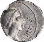 BRUTUS. AR Denarius (4.06 gms), Military mint traveling with Brutus in Lycia, 42 B.C. NGC Ch EF, Str