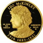 2013-W First Spouse Gold Bullion Coin. Ida McKinley. Proof-69 Deep Cameo (PCGS).