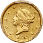 1849 $1 Gold Liberty. Open wreath. PCGS AU