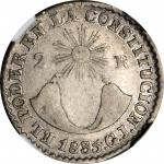 ECUADOR. 2 Reales, 1835-QUITO GJ. Quito Mint. NGC VF-20.