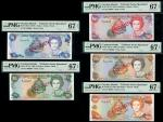 Cayman Islands Monetary Authority, a specimen set of the 1996 series comprising $1, blue, $5, green,