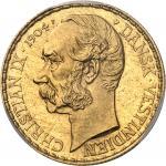 DANEMARK Indes occidentales danoises, Christian IX (1863-1906). 50 francs / 10 daler 1904, Copenhagu