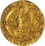 英国。 爱德华三世(1327 - 77年)诺布尔金币。加莱造币厂。