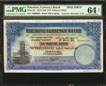 1927-44P巴勒斯坦10磅 PMG Choice Unc 64