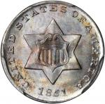 1851 Silver Three-Cent Piece. MS-67 (PCGS). Secure Holder.