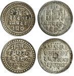 Jaintiapur, Bargosain II (1731-70), Tankas (2), 9.80, 9.55g, Sk. 1653, legends and main symbols as p