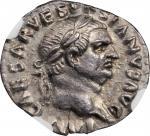 VESPASIAN, A.D. 69-79. AR Denarius (2.66 gms), Rome Mint, ca. A.D. 69-70. NGC Ch AU, Strike: 5/5 Sur