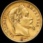FRANCE Napoleon III ナポレオン3世(1852~70) 20Francs 1865A VF
