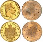 Napoléon III (1852-1870). 20 francs 1862 E, essai, paire d'essais unifaces en bronze doré.