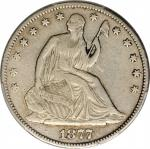 1877-CC Liberty Seated Half Dollar. Type II Reverse. WB-11. Rarity-4. Repunched 77, Medium CC. VF De