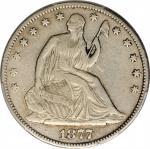 1877-CC Liberty Seated Half Dollar. Type II Reverse. WB-11. Rarity-4. Repunched 77, Medium CC. VF De