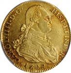 COLOMBIA. 4 Escudos, 1792-NR JJ. Nuevo Reino Mint. Charles IV. PCGS AU-58 Gold Shield.