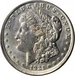 1921-S Morgan Silver Dollar--Broadstruck Out of Collar--Unc Details--Cleaned (PCGS). Gold Shield Hol
