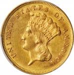 1879 Three-Dollar Gold Piece. AU-58+ (PCGS). CAC.