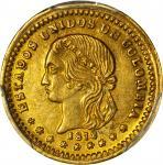 COLOMBIA. 1872 Peso. Medellín mint. Restrepo 323.1. MS-63 (PCGS).