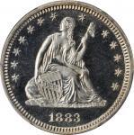 1883 Liberty Seated Quarter. Proof-68 Cameo (PCGS).