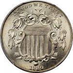 1880 Shield Nickel. MS-66 (PCGS). Secure Holder.
