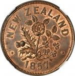 NEW ZEALAND. Auckland. M. Somerville. Penny Token, 1857. NGC MS-63 RB.