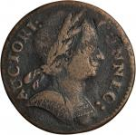 1785 Connecticut Copper. Miller 6.4-F.5, W-2415. Rarity-6+. Mailed Bust Right. Fine-12 (PCGS).
