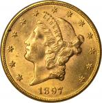 1897 Liberty Head Double Eagle. MS-62 (NGC).