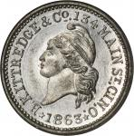 Ohio--Cincinnati. 1863 B. Kittredge & Co. Fuld-165CN-1e. Rarity-9. White Metal. 19 mm. MS-64 PL (NGC