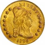 1799 Capped Bust Right Eagle. BD-7, Taraszka-19. Rarity-3. Small Obverse Stars. AU-53 (PCGS).