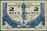 French Oceania, Bons de Caisse des Establissments Francais Libres de LOceanie, 2 francs, 1942, seria