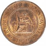 1879-A年百分之一。巴黎铸币厂。 FRENCH COCHIN CHINA. Centime, 1879-A. Paris Mint. PCGS MS-64 Red Brown.