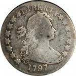 1797 Draped Bust Half Dollar. Small Eagle. O-101, T-1. Rarity-4+. Net AG-3 (ANACS). Good Details--Sc