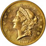 1857-S Liberty Head Double Eagle. Variety-20D. Bold 7, Faint S. Gold S.S. Central America Label. MS-