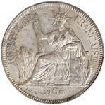 1906-A年坐洋壹圆银币。巴黎铸币厂。 FRENCH INDO-CHINA. Piastre, 1906-A. Paris Mint. PCGS MS-61.